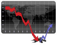 Recovering from the global economic crisis. Graph illustrating the world's financial crisis and the long way to recovery Stock Photography
