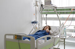 Recovering patient. In intensive care unit of hospital Royalty Free Stock Photos