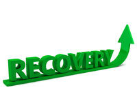Recovery. Underlined by a green arrow pointing up set against a white background Stock Photo