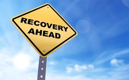 Recovery ahead sign. On blue sky background,3d rendered Stock Image