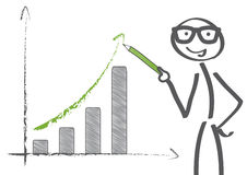 Recovery chart. Businessman pointing at graph with rising arrow Stock Image