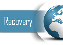 Recovery. Concept with globe on white background Stock Photos