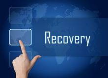 Recovery. Concept with interface and world map on blue background Royalty Free Stock Photography