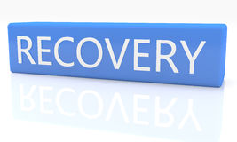 Recovery. 3d render blue box with text Recovery on it on white background with reflection Royalty Free Stock Photo