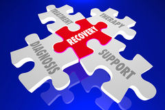 Recovery Diagnosis Treatment Support Therapy Puzzle Pieces 3d Il. Lustration Stock Photography