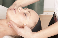 Recovery from a facial massage Stock Photos