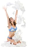 Recovery. Happy woman throw up a lot of hankys. Isolated on white background royalty free stock image