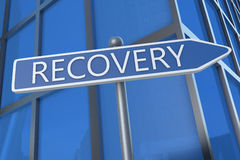 Recovery. Illustration with street sign in front of office building Stock Photography