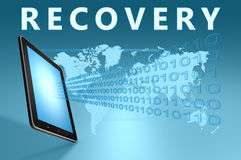 Recovery. Illustration with tablet computer on blue background royalty free stock images