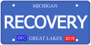 Recovery Imitation Michigain License Plate Stock Images