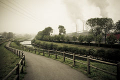 Recovery landscaper of industrial zone Stock Images