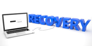 Recovery. Laptop computer connected to a word on white background. 3d render illustration Royalty Free Stock Photography