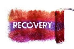 The recovery painting. Color full on white paper by roll painter,isolated Stock Illustration