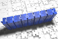 Recovery. Puzzle 3d render illustration with block letters on blue jigsaw pieces Royalty Free Stock Photos