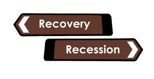 Recovery and Recession Sign Stock Images