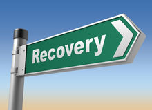Recovery road sign. 3d concept illustration on sky background Stock Photography