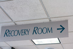 Recovery Room sign on hospital ceiling Stock Images