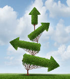 Recovery And Success. Business concept as an arrow tree pointing downward gradually recovering with upward pointing branches as a symbol for financial and Stock Image