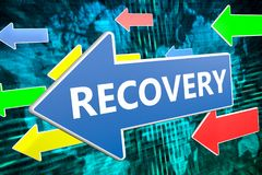 Recovery text concept. Recovery - text concept on blue arrow flying over green world map background. 3D render illustration Stock Photos