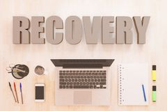 Recovery text concept. Recovery - text concept with notebook computer, smartphone, notebook and pens on wooden desktop. 3D render illustration Royalty Free Stock Images