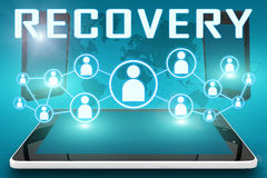 Recovery. Text illustration with social icons and tablet computer and mobile cellphones on cyan digital world map background Royalty Free Stock Photos
