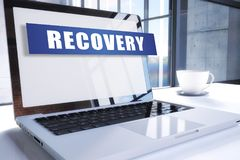 Recovery. Text on modern laptop screen in office environment. 3D render illustration business text concept Royalty Free Stock Photos