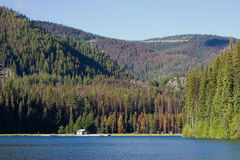 Recration area on a lakeshore. Lightning lake in the manning provincial park, canada Royalty Free Stock Image