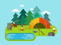Recreação ao ar livre Acampamento da pesca Imagem de Stock