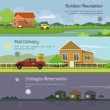 Recreação exterior, entrega de correio, casas de campo ilustração stock