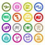Recreação, curso & férias, ícones ajustados Fotografia de Stock