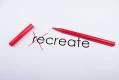 ReCREATE. Text Create written on paper letters Re are crossed out royalty free stock images