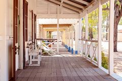 Recreated Old Australian Country Town. Footpath along the verandahs of vintage homes in a recreated old Australian country town stock photo