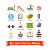 Recreatie, toerisme, sport en godsdienstgebouwen stock illustratie