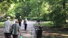 Recreatietijd in het openbare park in Polen in de stad van Wroclaw stock videobeelden