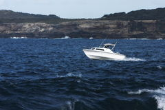 Recreatinal fishing boat at sea. Royalty Free Stock Photos