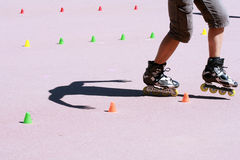Recreation. On inline skate in park Royalty Free Stock Photos