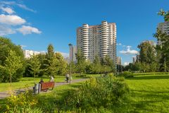 Recreation area in Altufevo. MOSCOW, RUSSIA - 23 JULY, 2017: Walking area on a warm summer evening in a recreation area in Altufevo, Moscow Stock Images