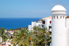 Recreation area and beach of luxury hotel. Tenerife island, Spain Stock Images