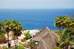 Recreation area and beach of luxury hotel. Tenerife island, Spain Stock Photography