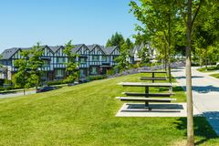 Recreation area with chess table on the block of new townhouses. Recreation area with chess table on the block of new townhouses stock photography