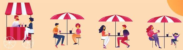 Recreation Area Food Court Cartoon Illustration. royalty free illustration