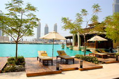 Recreation area at hotel in Dubai downtown Stock Photos