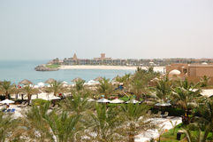 Recreation area of luxury hotel and beach with luxury villas. Ras Al Khaimah, UAE Stock Photography