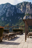 Recreation area in the mountains. Recreation area with benches and tables in the mountains stock image