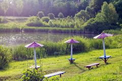 The recreation area near the river. Sunny summer morning near th royalty free stock images