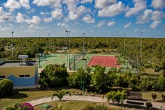 Recreation Area At Playa Paraiso Resort In Cayo Coco, Cuba. Gym, soccer/basketball court and tennis court at the Hotel Playa Paraiso Resort in Cayo Coco, Cuba royalty free stock image