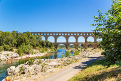 Recreation area at the Pont du Gard, France Stock Image