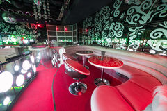Recreation area with sofa and table in the nightclub Royalty Free Stock Photos