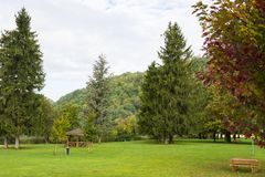Recreation area at lake Levico Termen, Italy stock images