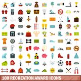 100 recreation award icons set, flat style. 100 recreation award icons set in flat style for any design vector illustration Vector Illustration